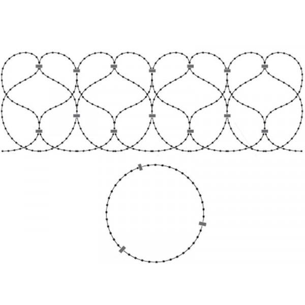 Спиральный барьер безопасности из армированной колючей ленты:бухта 500мм витков в п.м. 6,2 клепок- 5 ГОСТ 3282-74 (10м)(индивидуальная упаковка)