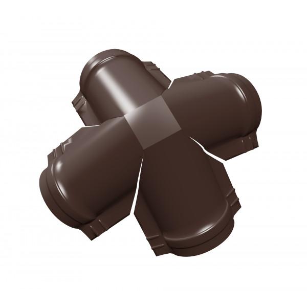 Четверник конька малого полукруглого PE с пленкой RAL 8017 шоколад