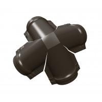 Четверник конька малого полукруглого PE с пленкой RR 32 темно-коричневый