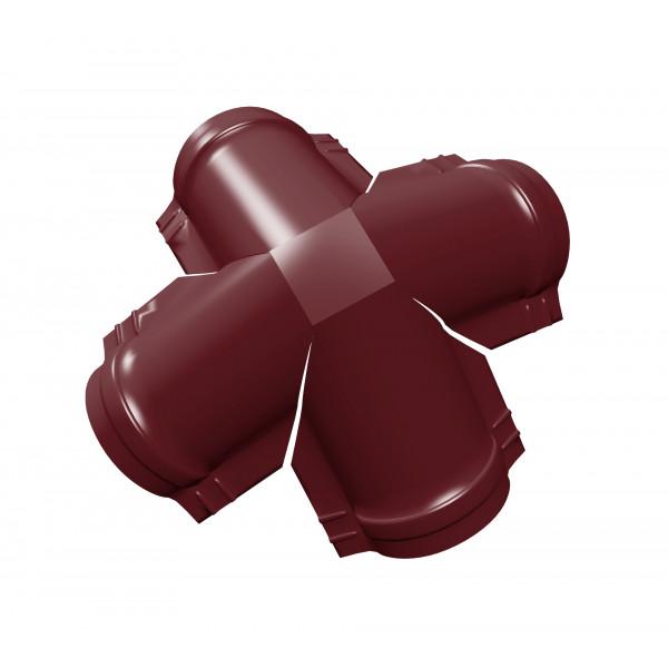 Четверник конька малого полукруглого PE с пленкой RAL 3005 красное вино