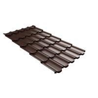 Металлочерепица квинта плюс Grand Line c 3D резом 0,5 PurLite Мatt RAL 8017 шоколад