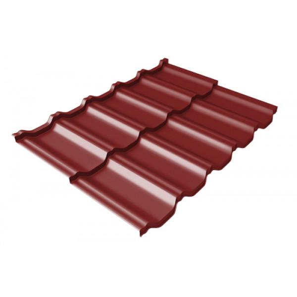 Металлочерепица модульная квинта Uno Grand Line c 3D резом 0,5 Satin RAL 3011 коричнево-красный