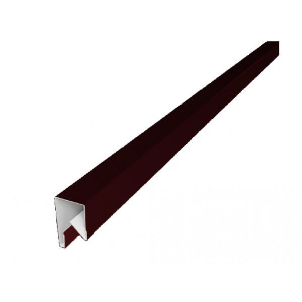 Планка П-образная заборная 17 0,45 PE с пленкой RAL 3005 красное вино