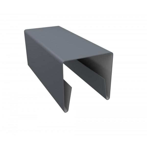 Планка П-образная заборная 20 0,45 PE с пленкой RAL 9006 бело-алюминиевый