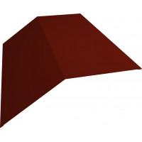 Планка конька плоского 190х190 0,45 PE с пленкой RAL 3009 оксидно-красный