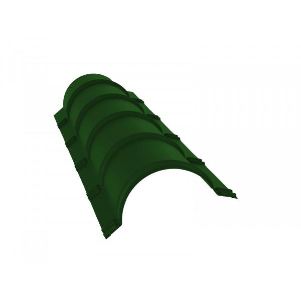 Планка малого конька полукруглого 0,45 PE с пленкой RAL 6002 лиственно-зеленый
