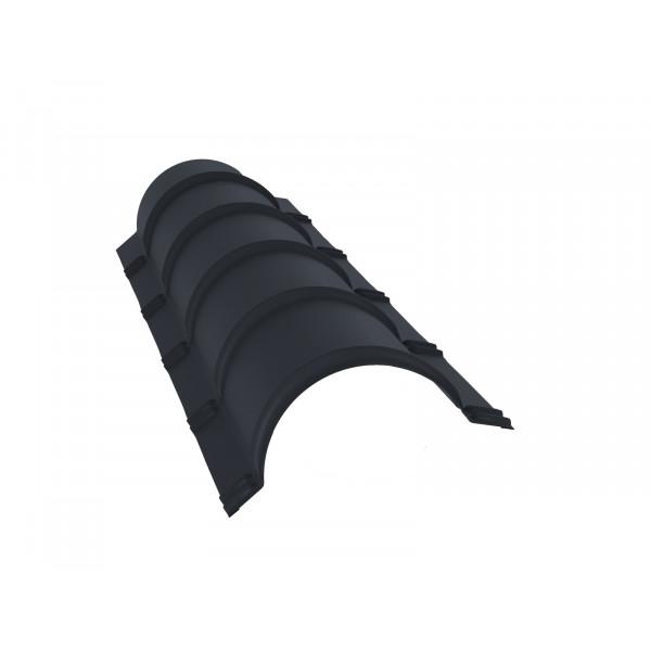 Планка малого конька полукруглого 0,45 PE с пленкой RAL 7024 мокрый асфальт