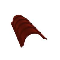 Планка малого конька полукруглого 0,45 PE с пленкой RAL 3009 оксидно-красный