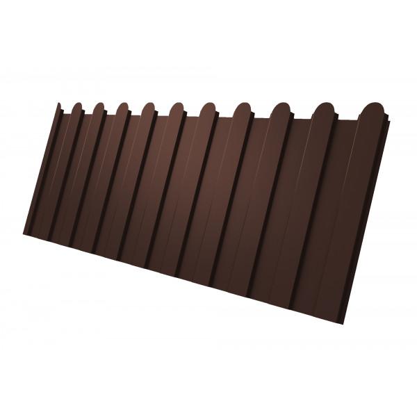Профнастил С8А фигурный 0,45 PE-Double RAL 8017 шоколад