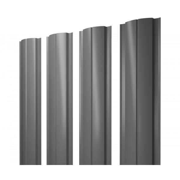 Штакетник Полукруглый Slim 0,45 PE RAL 7005 мышино-серый