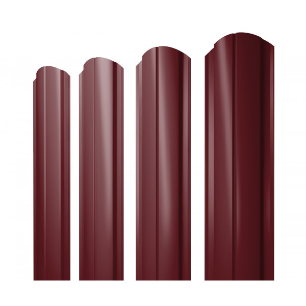 Штакетник Полукруглый Slim фигурный 0,45 PE RAL 3005 красное вино