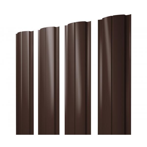 Штакетник Полукруглый Slim 0,45 PE RAL 8017 шоколад
