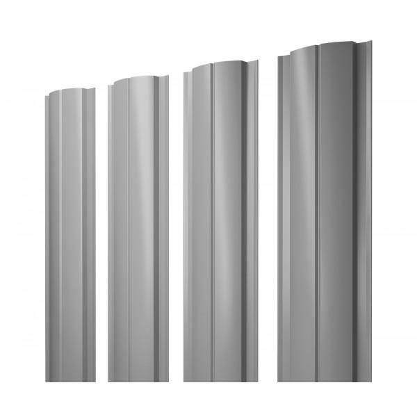 Штакетник Полукруглый Slim 0,45 PE RAL 9006 бело-алюминиевый