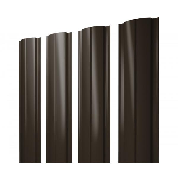 Штакетник Полукруглый Slim 0,45 PE RR 32 темно-коричневый