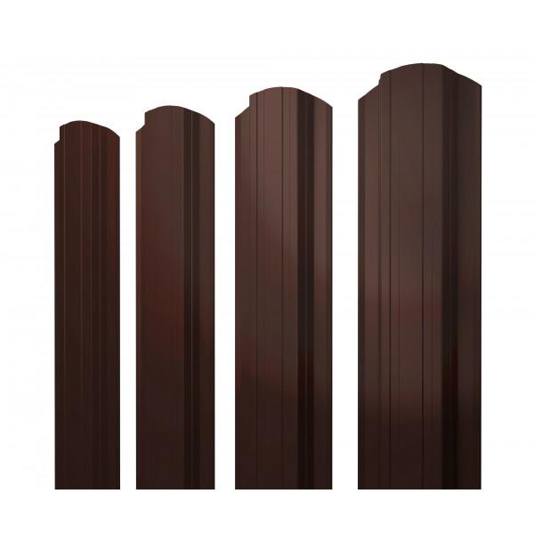 Штакетник Прямоугольный фигурный 0,45 PE RAL 8017 шоколад