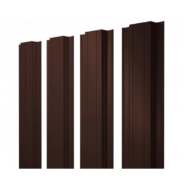 Штакетник Прямоугольный 0,45 PE RAL 8017 шоколад