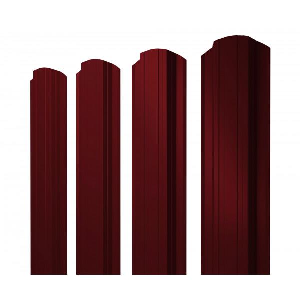 Штакетник Прямоугольный фигурный 0,45 PE RAL 3005 красное вино