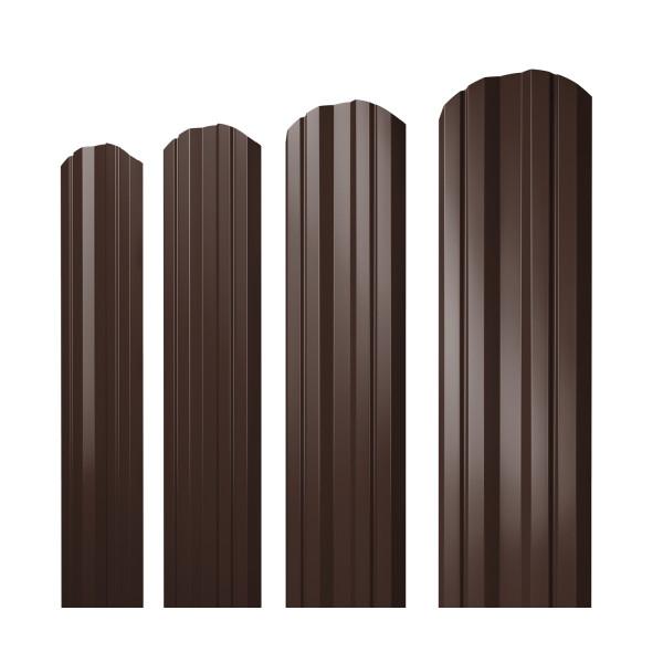 Штакетник Twin фигурный 0,45 PE RAL 8017 шоколад