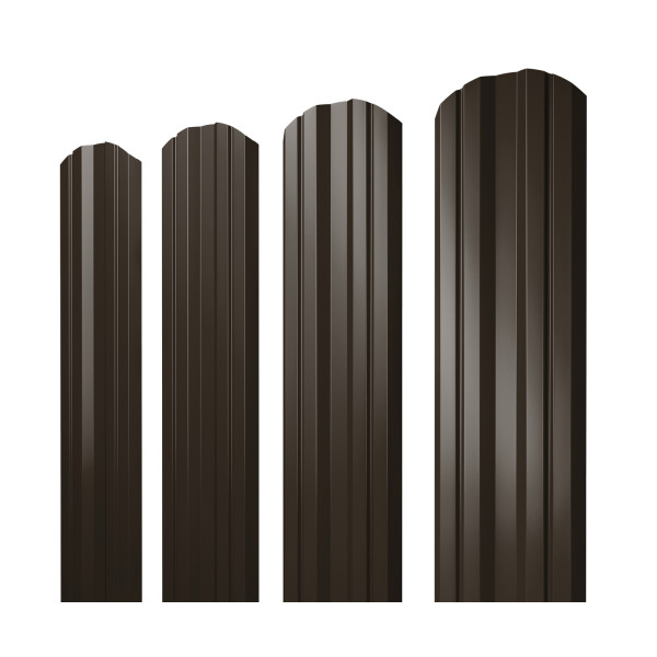 Штакетник Twin фигурный 0,45 PE RR 32 темно-коричневый
