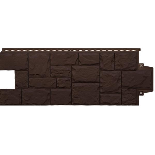 Фасадная панель Grand Line Крупный камень Стандарт коричневая