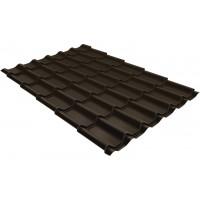 Металлочерепица классик Grand Line 0,5 Velur RR 32 темно-коричневый