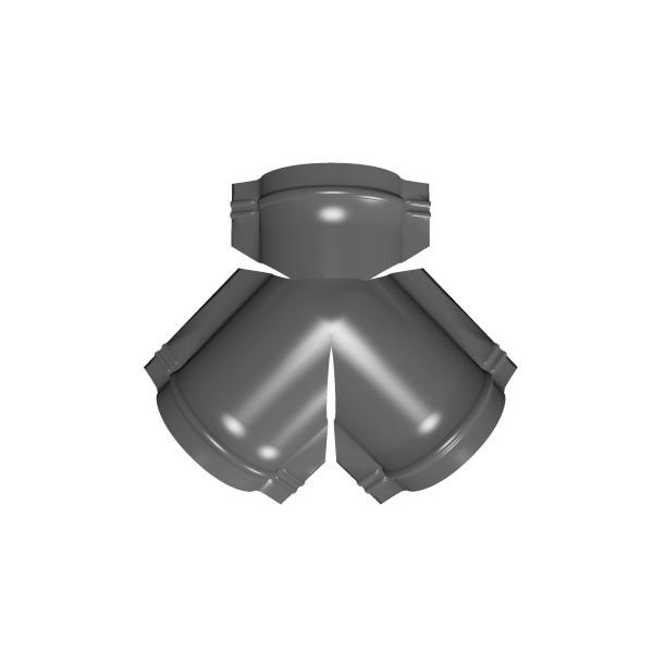 Тройник Y конька полукруглого PE с пленкой RAL 7005 мышино-серый