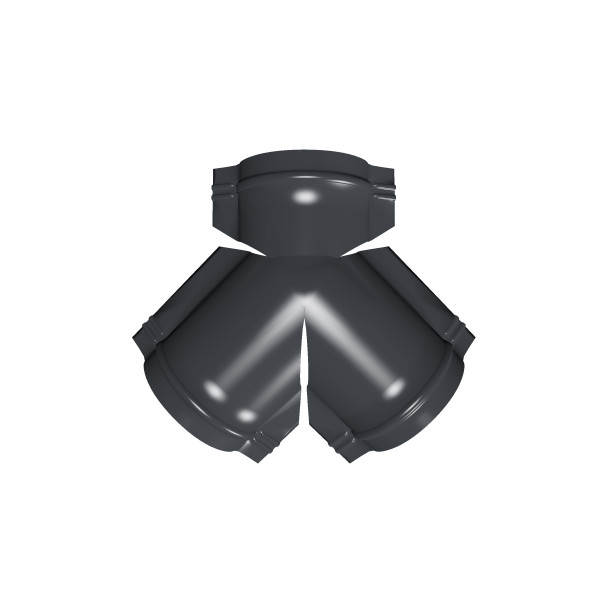 Тройник Y конька полукруглого PE с пленкой RAL 7024 мокрый асфальт