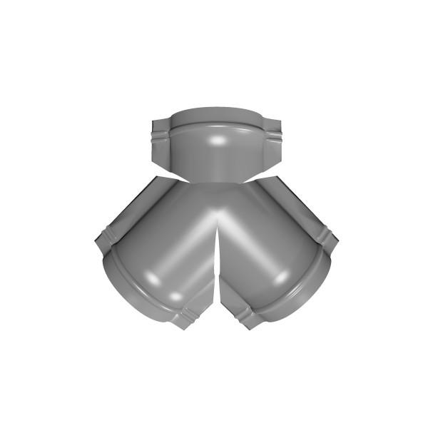 Тройник Y конька полукруглого PE с пленкой RAL 7004 сигнальный серый