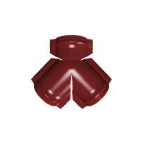 Тройник Y конька полукруглого PE с пленкой RAL 3011 коричнево-красный