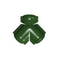 Тройник Y конька полукруглого PE с пленкой RAL 6002 лиственно-зеленый