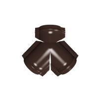 Тройник Y конька полукруглого PE с пленкой RAL 8017 шоколад