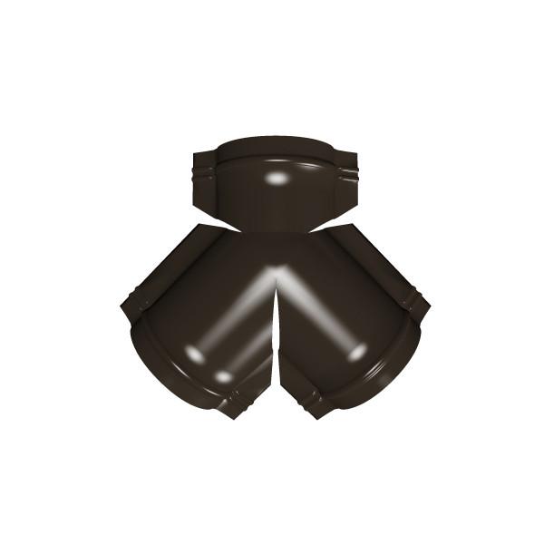 Тройник Y конька полукруглого PE с пленкой RR 32 темно-коричневый