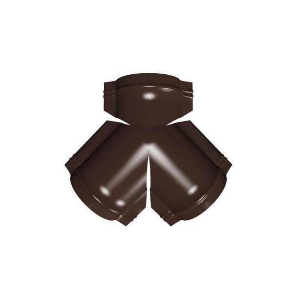 Тройник Y малого конька полукруглого PE с пленкой RAL 8017 шоколад
